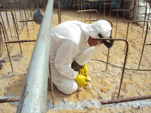 Injeção de epóxi em blocos de fundação fábrica de cimentos